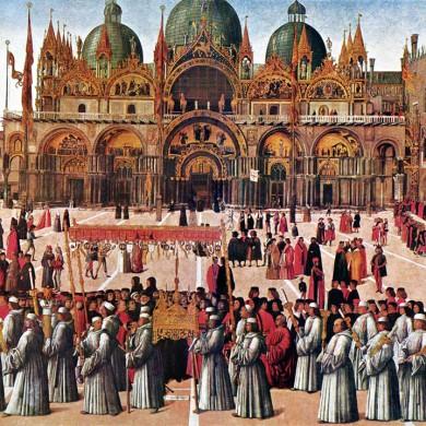 Gentile Bellini, Processione della Vera Croce a Piazza San Marco a Venezia (1496)