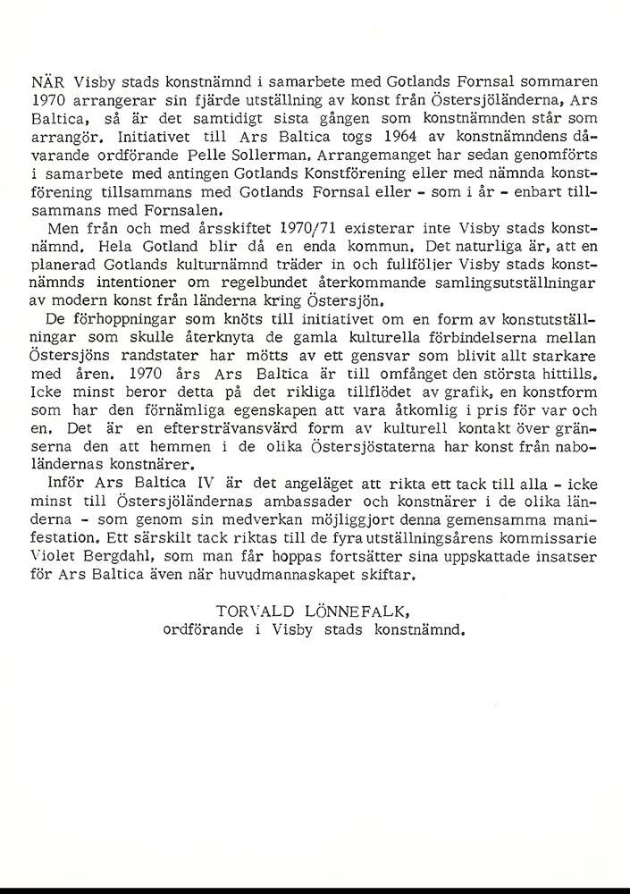 Sivert Lindblom Ars Baltica 1970 1